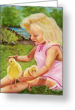 Girl With Ducks Greeting Card by Joni McPherson