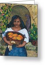 Girl With Mangoes Greeting Card by Barbara Nye