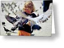 Girl With Pigeons Greeting Card by Heiko Koehrer-Wagner