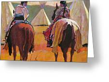 Girls Riding Greeting Card by Robert Bissett