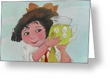 Girls With Lemonade Greeting Card by M Valeriano