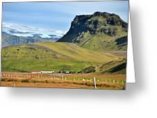 Glacier Mountains Meadows Farm Greeting Card by David Halperin