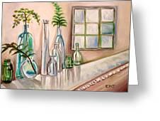 Glass and Ferns Greeting Card by Elizabeth Robinette Tyndall