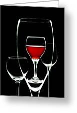 Glass Of Wine In Glass Greeting Card by Tom Mc Nemar