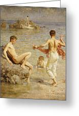 Gleaming Waters Greeting Card by Henry Scott Tuke