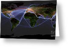 Global Transportation Map Greeting Card by Felix PD and Globaia