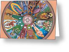Goddess Wheel Guadalupe Greeting Card by James Roderick