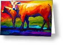 Golden Beauty - Cow And Calf Greeting Card by Marion Rose
