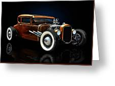 Golden Brown Hot Rod Greeting Card by Rat Rod Studios