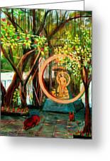 Golden Buddha Greeting Card by Art Nomad Sandra  Hansen