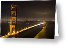 Golden Gate at night Greeting Card by Mike Irwin