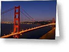 Golden Gate Bridge By Night Greeting Card by Melanie Viola