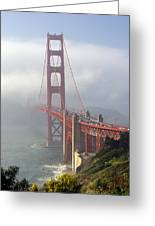 Golden Gate Bridge In The Fog Greeting Card by Mathew Lodge