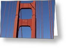 Golden Gate Bridge Tower Greeting Card by Garry Gay