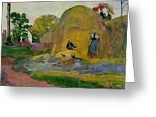 Golden Harvest Greeting Card by Paul Gauguin