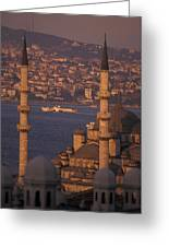 Golden Horn At Sunset From Suleymaniye Greeting Card by Richard Nowitz