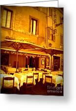 Golden Italian Cafe Greeting Card by Carol Groenen