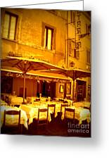 Golden Italian Cafe Greeting Card by Carol Groenen