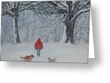 Golden Retriever winter walk Greeting Card by Lee Ann Shepard