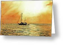 Golden Sunset Greeting Card by Paul E Temple
