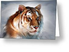 Golden Tiger Greeting Card by Julie L Hoddinott