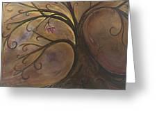Golden Tree Of Life Greeting Card by Karen Ahuja