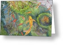 Goldfish Pond 1 Greeting Card by Madeleine Arnett