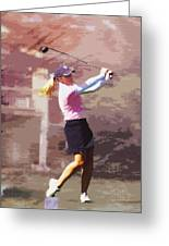 Golfer Greeting Card by David Haskett