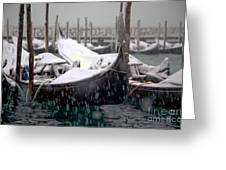 Gondolas In Venice In The Snow Greeting Card by Michael Henderson