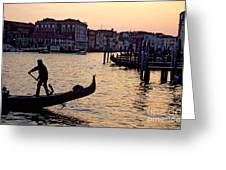 Gondolier In Venice In Silhouette Greeting Card by Michael Henderson