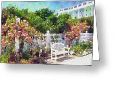 Grand Hotel Gardens Mackinac Island Michigan Greeting Card by Betsy Foster Breen