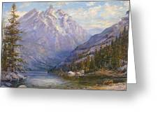 Grand Tetons and Jenny Lake Tryptych Center Greeting Card by Lewis A Ramsey