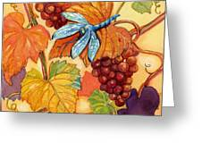 Grapes And Dragonfly Greeting Card by Peggy Wilson