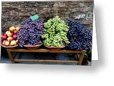 Grapes And Nectarines On A Bench Greeting Card by Todd Gipstein