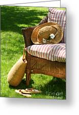Grass Lawn With A Wicker Chair  Greeting Card by Sandra Cunningham