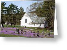 Graveyard Phlox Country Church Greeting Card by John Stephens