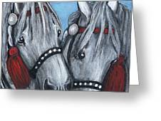 Gray Horses Greeting Card by Anna Folkartanna Maciejewska-Dyba