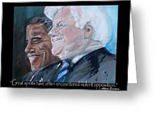 Great Spirits - Teddy And Barack Greeting Card by Valerie Wolf