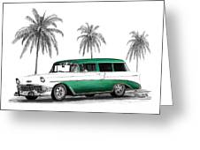 Green 56 Chevy Wagon Greeting Card by Peter Piatt