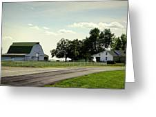 Green And White Farm Greeting Card by Cricket Hackmann