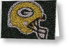 Green Bay Packers Bottle Cap Mosaic Greeting Card by Paul Van Scott