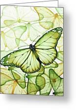 Green Butterflies Greeting Card by Christina Meeusen