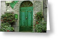 Green Door Greeting Card by Karen Lewis