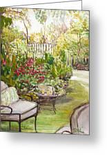 Green Garden Greeting Card by Becky Kim