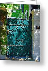 Green Gate Greeting Card by Donna Bentley