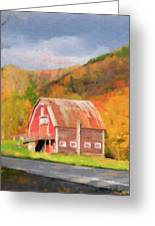Green Mountains Barn Greeting Card by Betty LaRue