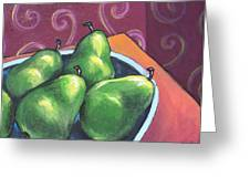 Green Pears In A Bowl Greeting Card by Sarah Crumpler