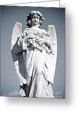 Grieving Angel On The Old Graveyard Greeting Card by Yurix Sardinelly