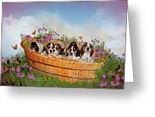 Growing Puppies Greeting Card by Carol Cavalaris
