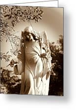 Guardian Angel Bw Greeting Card by Susanne Van Hulst